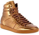 Saint Laurent SL/10H Signature Court Classic Metallic Leather High-Top Sneaker, Gold