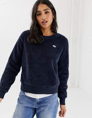 Abercrombie & Fitch sherpa teddy boyfriend sweatshirt-Navy