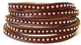 Hera Rock Punk Magnetic Brown Studs Leather Wrap Bracelet