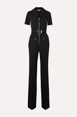 Michael Kors Belted Wool-gabardine Jumpsuit - Black