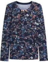 Lucas Hugh Inca Mesh-Paneled Floral-Print Stretch-Jersey Top