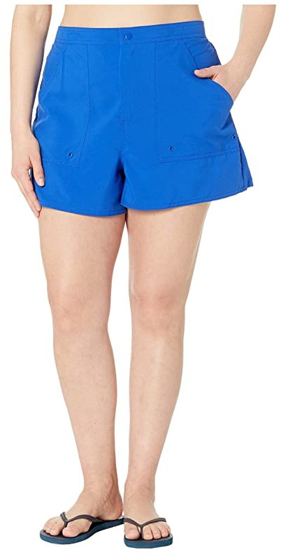Maxine Of Hollywood Swimwear Plus Size Solids Woven Boardshorts