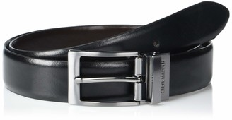 Steve Madden Men's Two-Color Reversible Split Leather Belt