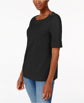 Karen Scott Elbow-Sleeve Zip-Shoulder Top, Created for Macy's