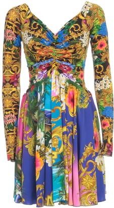 Versace Dress L/s V Neck Drape W/baroque Fantasy Skirt