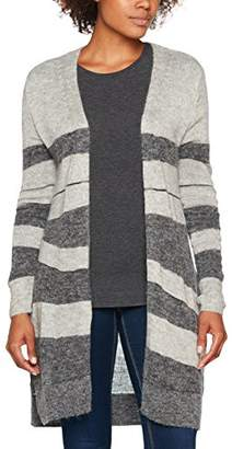 Tom Tailor Women's Metallic Stripy Mix Cardigan Silver Melange 2527, Medium