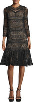 Rebecca Taylor 3/4-Sleeve Lace Sheath Dress, Black