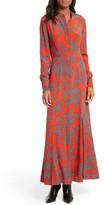 Diane von Furstenberg Women's Print Silk Maxi Shirtdress