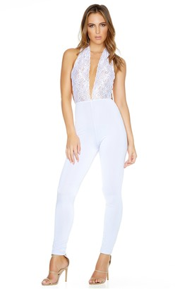 Forplay Women's in Too Deep Halter Jumpsuit with Lace Top with Open Back and Solid Pants