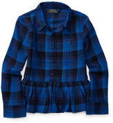 Ralph Lauren Plaid Cotton Peplum Shirt
