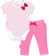 Kushies Fuchsia Dot I Love Spring Bodysuit & Leggings - Infant
