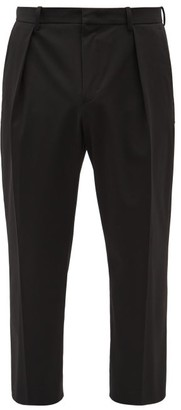 Wooyoungmi Cropped Twill Slim-leg Trousers - Black