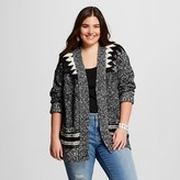 Mossimo Women's Plus Size Patterned Open Cardigan Black and White Marl