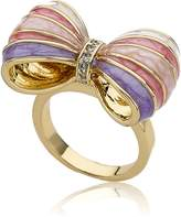 Little Miss Twin Stars Bow Beautiful 14k Gold-Plated Royal, Mint & Turquoise Stripe Bow Ring CZ Stripe Center