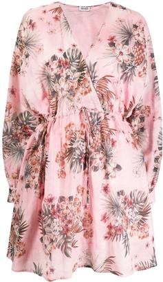 Liu Jo Tropical Floral-Print Drawstring Mini Dress