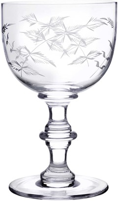 Six Hand Engraved Crystal Wine Goblets With Ferns Design