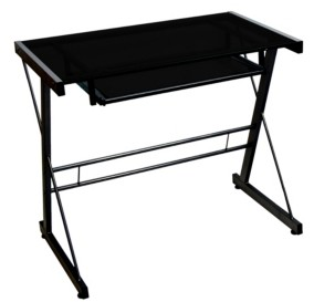 Walker Edison Home Office Glass Metal Computer Desk - Black