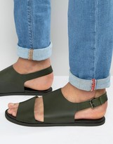 Asos Sandals in Khaki Leather With Cut Out