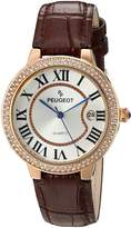 Peugeot Women's Rose Gold Crystal Bezel Brown Leather Strap Watch