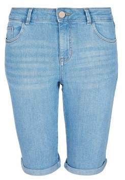 Dorothy Perkins Womens Blue Light Wash Knee Shorts, Blue