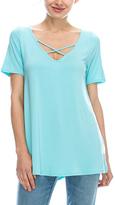 Aqua Mint Criss-Cross Short-Sleeve Top