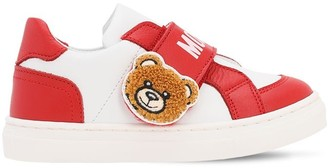 Moschino Teddy Bear & Logo Leather Strap Sneakers