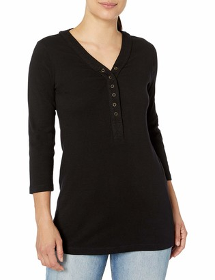 Three Dots Women's Lacey 3/4 SLV Henley Top