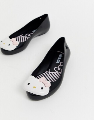 Hello Kitty logo ballet flats in black