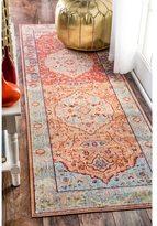nuLoom Traditional Floral Oriental Border Orange Runner Rug (2'6 x 8')