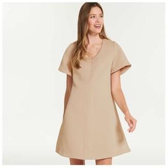 Joe Fresh Women's V-Neck Satin Dress, Gold (Size XS)