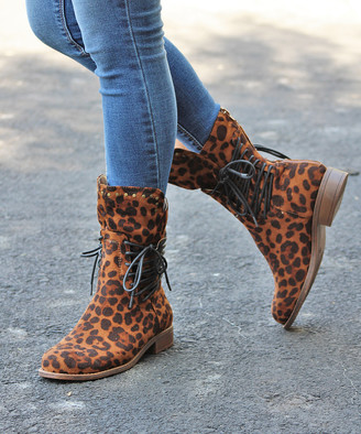 Mata Shoes Women's Casual boots LEOPARD - Brown Leopard Stud-Trim Milano Boot - Women