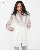 White House Black Market Petite Faux Fur-Collar Wrap Vest