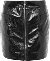 Topshop Zip Through Vinyl Mini Skirt