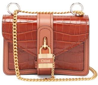 Chloé Aby Mini Crocodile-effect Leather Cross-body Bag - Womens - Brown