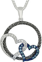 FINE JEWELRY 1/2 CT. T.W. White and Color-Enhanced Blue and Black Diamond Circle Necklace