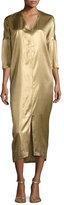 Zero Maria Cornejo Koy 3/4-Sleeve Fluid Metallic Midi Dress, Gold