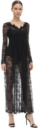 Paco Rabanne Long Sleeve Lace Midi Dress