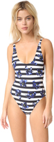 Proenza Schouler Striped Falling Flowers Swimsuit
