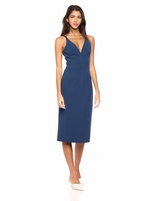 Dress the Population Women's LYLA Solid Sleeveless Fitted MIDI Sheath Dress