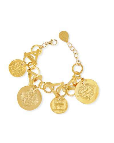 Devon Leigh Golden Coin Charm Bracelet