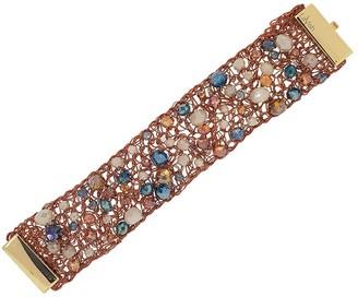 Lavish By Tricia Milaneze Caramel Open Mesh Hand Made Crystal Cuff Bracelet