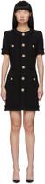Balmain Black Tweed Buttoned Dress