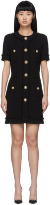 Balmain Black Tweed Buttoned Dress