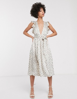 Glamorous plunge front midi dress with ruffle shoulders in smudge spot-Beige
