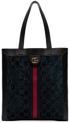 Gucci GG velvet and leather shopper tote