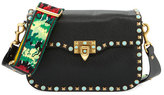Valentino Rockstud Rolling Medium Guitar-Strap Shoulder Bag, Black/Multi