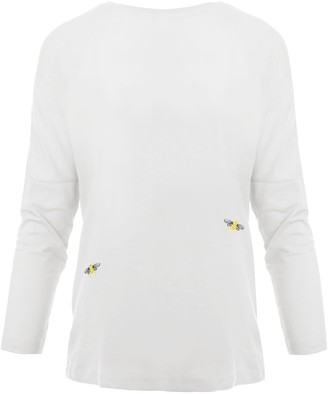 Ingmarson Bee Embroidered Dropped Shoulder T-Shirt White Women