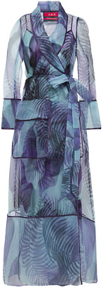 F.R.S For Restless Sleepers Phanes Printed Organza Maxi Wrap Dress