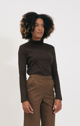 Shio Walnut Turtleneck Longsleeve Rib Jersey - S/M | cotton | walnut - Walnut
