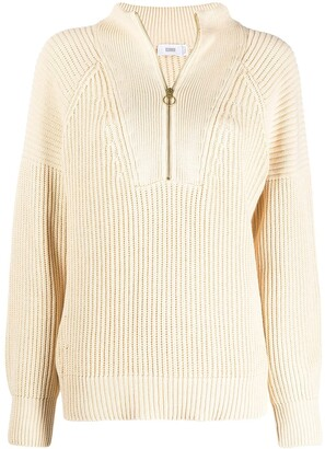 Closed Short Zip Ribbed Knit Jumper